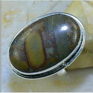 Autumn Jasper Handcrafted .925 Ring 7